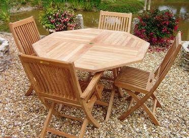 1.2m Teak Octagonal Folding Table with 2 Kiffa Folding Chairs and 2 Kiffa Folding Armchairs