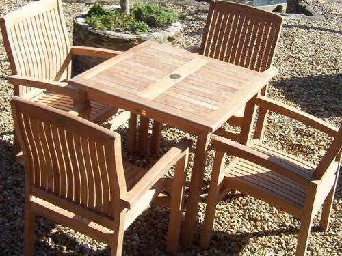 80cm Teak Square Fixed Table with 4 Marley Armchairs