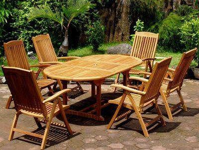 1.2m x 1.2m - 1.8m Teak Circular Extending Table with 2 Harrogate Recliners and 4 Kiffa Folding Armchairs