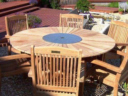 1.5m Teak Matahari Pedestal Table with Granite Lazy Susan (Table Only)