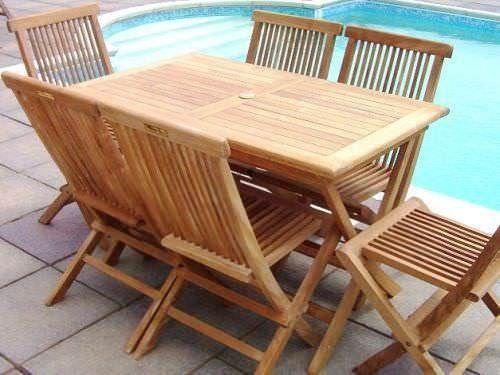 1.2m Teak Rectangular Folding Table with 6 Classic Folding Chairs