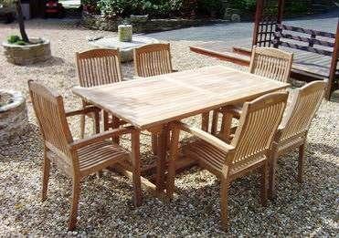1.6m Teak Rectangular Pedestal Table with 6 Marley Armchairs