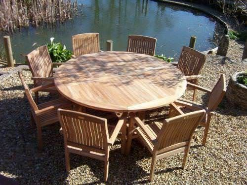 1.8m Teak Circular Fixed Table with 8 Marley Armchairs