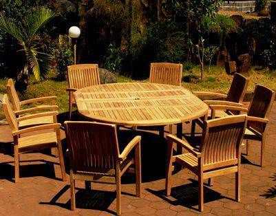1.5m x 1.5m - 2.3m Teak Circular Double Extending Table with 8 Marley Armchairs