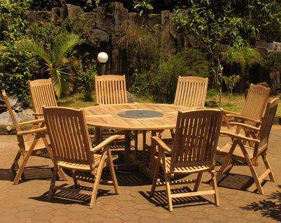 1.8m Teak Circular Fixed Table with Granite Lazy Susan and 8 Harrogate Recliners