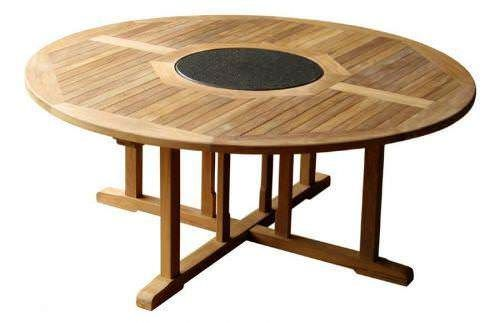 1.8m Circular Teak Garden Table with Granite Lazy Susan