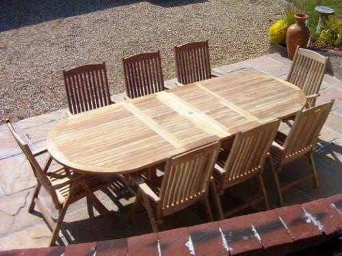 1.1m x 1.9m - 2.7m Teak Oval Double Extending Table with 8 Harrogate Recliners