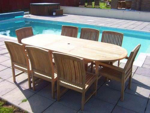 1m x 1.8m - 2.4m Teak Oval Extending Table with 6 Marley Chairs and 2 Marley Armchairs