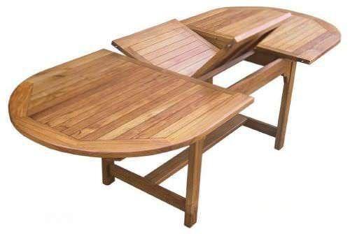 1m x 1.8m - 2.4m Teak Oval Extending Table