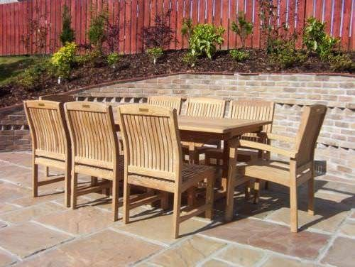 1.9m Teak Rectangular Fixed Table with 6 Marley Chairs and 2 Marley Armchairs