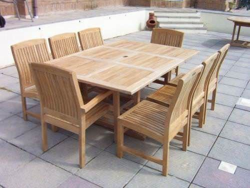 1m x 1.2m - 1.8m Teak Square Extending Table with 6 Marley Chairs and 2 Marley Armchairs