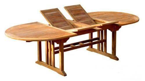 Teak Table Oval Double Extending 1.1m x 1.9m-2.7m