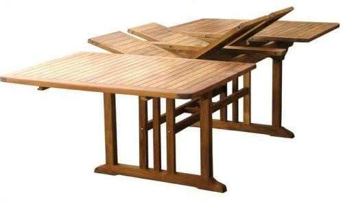 1.1m x 1.9m - 2.7m Teak Double Extending Rectangular Garden Table