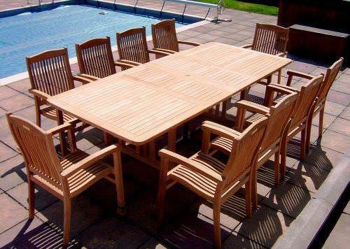 1.1m x 1.9m - 2.7m Teak Rectangular Double Extending Table with 10 Marley Armchairs
