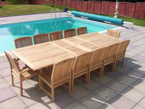 1.2m x 2.4m - 3.2m Teak Rectangular Double Extending Table with 10 Marley Chairs and 2 Armchairs