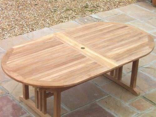Large Oval Pedestal Teak Table 1.9m