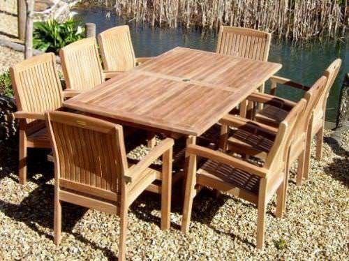 1.9m Teak Rectangular Fixed Pedestal Table with 8 Marley Armchairs