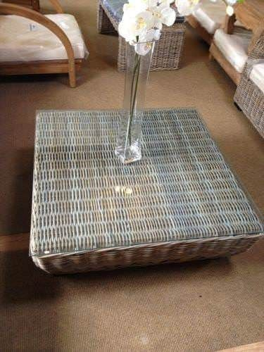 100cm Natural Wicker Glass Topped Coffee Table