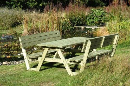 A Frame Picnic Table with Backs Rests