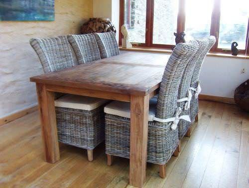 Mexico Reclaimed Teak Table Set With Six Latifa Chairs