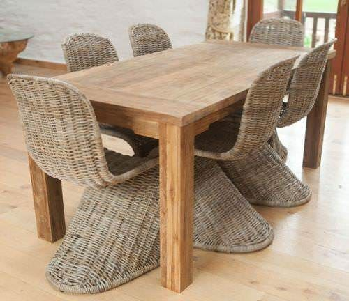 1.6m Reclaimed Teak Taplock Dining Table with 6 Stackable Zorro Chairs