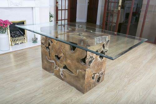 1.8m Reclaimed Teak Root Rectangular Block Dining Table
