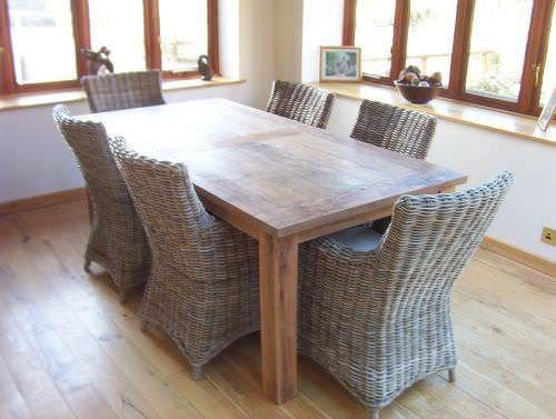 Mexico Indoor Reclaimed Teak Table and Natural Wicker Armchairs