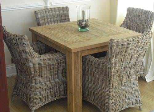 1m Reclaimed Teak Square Taplock Dining Table with 4 Donna Armchairs