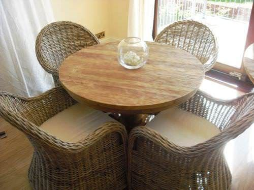 1m Reclaimed Teak Circular Pedestal Dining Table with 4 Riviera Armchairs