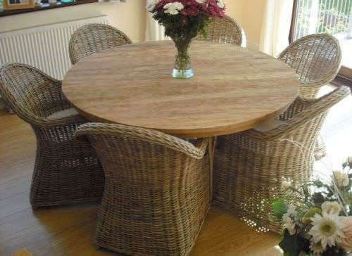 1.5m Reclaimed Teak Circular Pedestal Dining Table with 6 Riviera Chairs