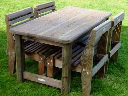 Woodland 4 Seater Solid Garden Set
