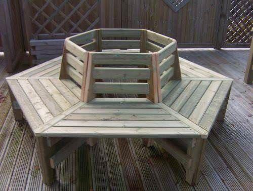 Swedish Redwood Hexagonal Tree Seat
