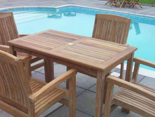 1.2m Teak Rectangular Fixed Table with 4 Marley Armchairs