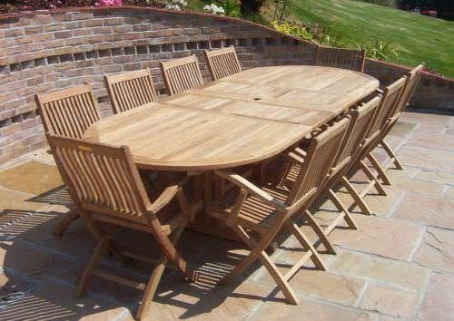 1.1m x 1.9m - 2.7m Teak Oval Double Extending Table with 10 Kiffa Folding Armchairs
