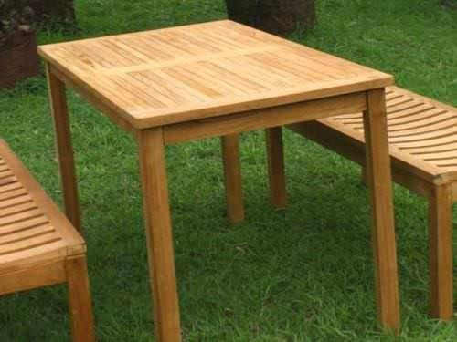 1.2m Teak Rectangular Fixed Table with 2 Teak Backless Benches
