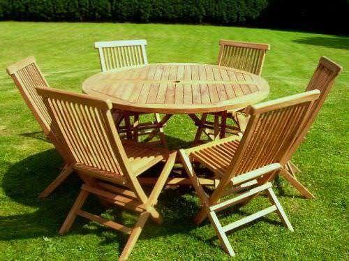 1.2m Teak Circular Folding Table with 6 Classic Folding Chairs