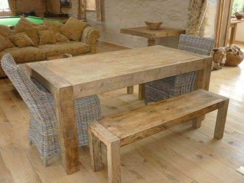 213cm Reclaimed Elm Chunky Style Backless Bench