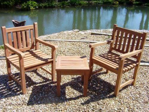 Traditional Teak Garden Armchair and Coffee Table Set