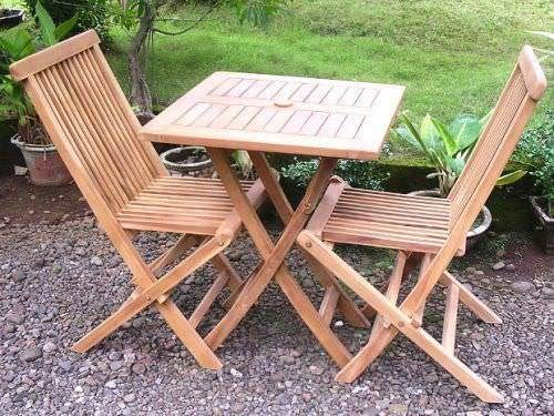 70cm Teak Square Folding Table with 2 Classic Folding Chairs