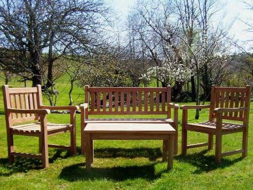 Richmond Teak Garden Bench with Traditional Teak Chair and Coffee Table Set