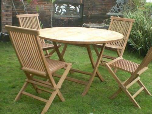 1.2m Teak Circular Folding Table with 4 Classic Folding Chairs / Armchairs