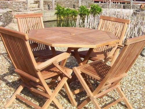 1m Teak Octagonal Folding Table with 4 Classic Folding Chairs - With or Without Arms