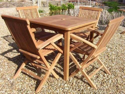 80cm Teak Square Fixed Table with 4 Classic Folding Armchairs