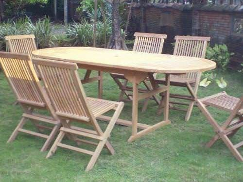 80cm x 1.5m - 2.1m Teak Oval Extending Table with 6 Classic Folding Chairs