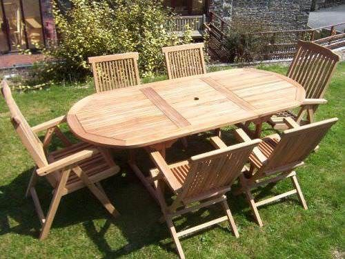 80cm x 1.5m - 2.1m Teak Oval Extending Table with 4 Classic Folding Chairs and 2 Harrogate Recliners