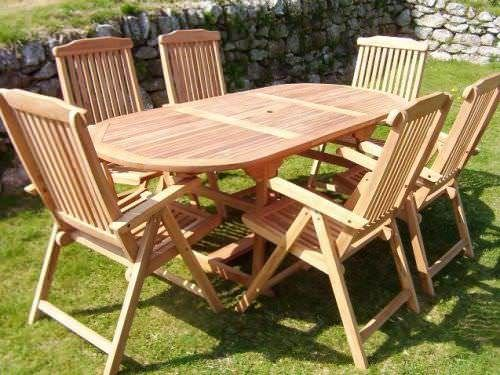 80cm x 1.5m - 2.1m Teak Oval Extending Table with 6 Harrogate Recliners