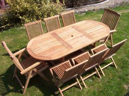80cm x 1.5m - 2.1m Teak Oval Extending Table with 6 Classic Folding Chairs and 2 Harrogate Recliners