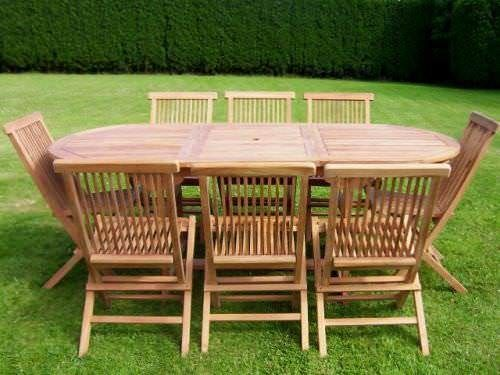 80cm x 1.5m - 2.1m Teak Oval or Rectangular Extending Table with 8 Classic Folding Chairs