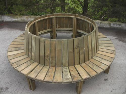 Douglas Fir Circular Tree Seat With Backrest