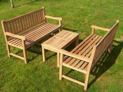 2 Richmond Teak Benches and Coffee Table Set